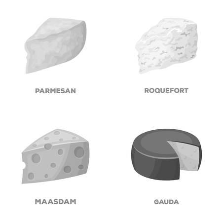 パルメザン チーズ、ロック フォール、maasdam、gauda。チーズの種類は、モノクロ スタイル ベクトル シンボル ストック イラスト web コレクションのアイコンを設定します。 写真素材 - 81346298