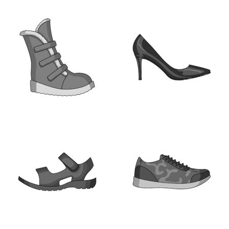 A set of icons on a variety of shoes.Different shoes single icon in monochrome style vector web symbol stock illustration.