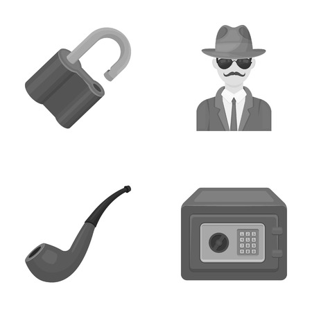 investigating: Lock hacked, safe, smoking pipe, private detective.Detective set collection icons in monocrome style vector symbol stock illustration web.