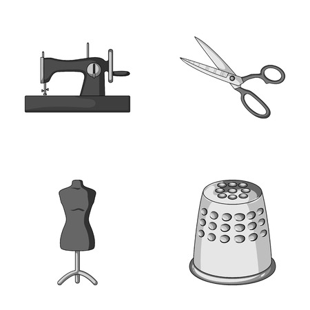 Manual sewing machine, scissors, maniken, thimble.Sewing or tailoring tools set collection icons in monochrome style vector symbol stock illustration web. Illustration