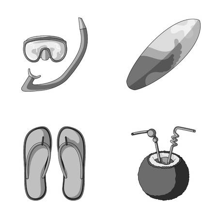 Diving, surfing, cocktail.Summer vacation set collection icons in monochrome style vector symbol stock illustration web.