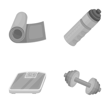 signo pesos: A dumbbell, a rug and other equipment for training.Gym and workout set collection icons in monochrome style vector symbol stock illustration web.