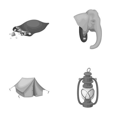 A bag of diamonds, an elephants head, a kerosene lamp, a tent. African safari set collection icons in monochrome style vector symbol stock illustration web. Illustration