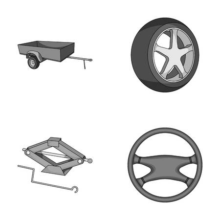 tire cover: Caravan, wheel with tire cover, mechanical jack, steering wheel, Car set collection icons in monochrome style vector symbol stock illustration web. Illustration