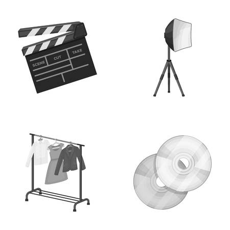hangers: Movies, discs and other equipment for the cinema. Making movies set collection icons in monochrome style vector symbol stock illustration web. Illustration
