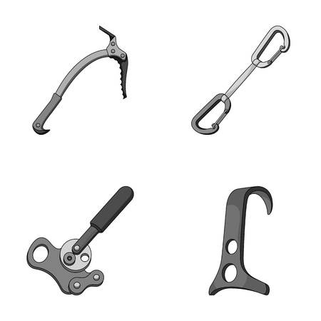 An ice ax, a carbine and other equipment.Mountaineering set collection icons in monochrome style vector symbol stock illustration web.
