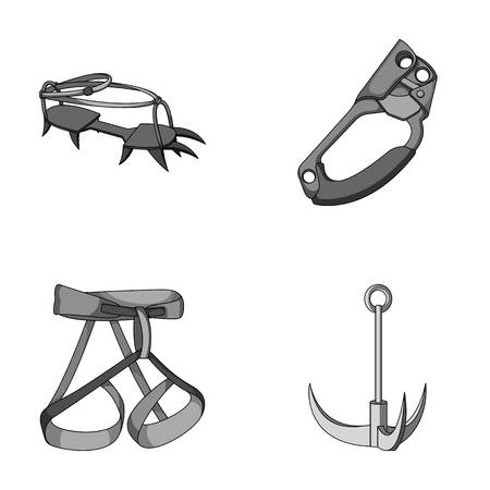 strapping: Hook, mountaineer harness, insurance and other equipment.Mountaineering set collection icons in monochrome style vector symbol stock illustration web.