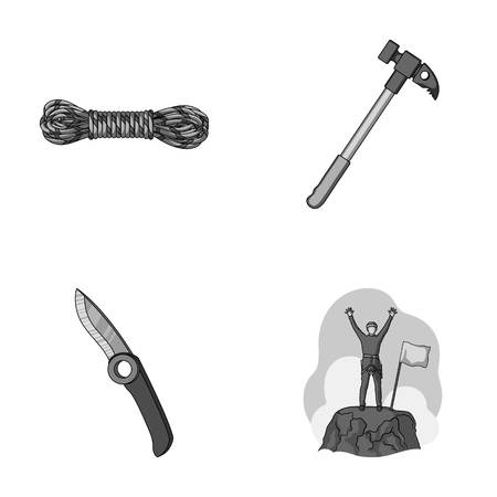 Climber on conquered top, coil of rope, knife, hammer.Mountaineering set collection icons in monochrome style vector symbol stock illustration web. Ilustrace