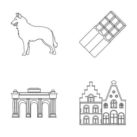 Chocolate, cathedral and other symbols of the country.Belgium set collection icons in outline style vector symbol stock illustration web.