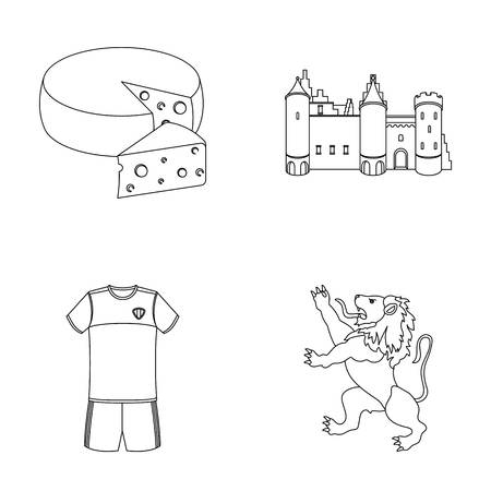 Cheese, lion and other symbols of the country.Belgium set collection icons in outline style vector symbol stock illustration web.