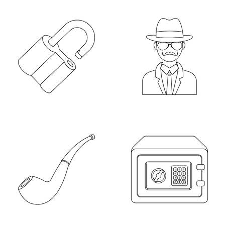 investigating: Lock hacked, safe, smoking pipe, private detective.Detective set collection icons in outline style vector symbol stock illustration web.