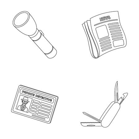 stock certificate: Flashlight, newspaper with news, certificate, folding knife.Detective set collection icons in outline style vector symbol stock illustration web.