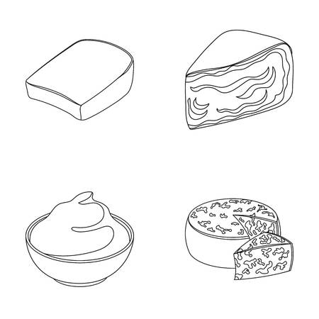 Gruyere, camembert, mascarpone, gorgonzola.Different types of cheese set collection icons in outline style vector symbol stock illustration web.