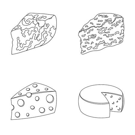 Parmesan, roquefort, maasdam, gauda.Different types of cheese set collection icons in outline style vector symbol stock illustration web.