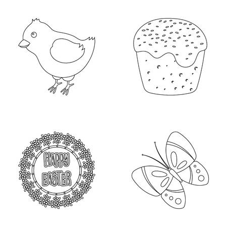 cupcakes isolated: Easter cake, chicken, butterfly and greeting sign.Easter set collection icons in outline style vector symbol stock illustration web. Illustration