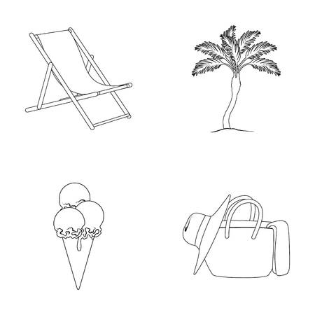 tree logo: Beach, palm tree, ice cream.Summer vacation set collection icons in outline style vector symbol stock illustration web.