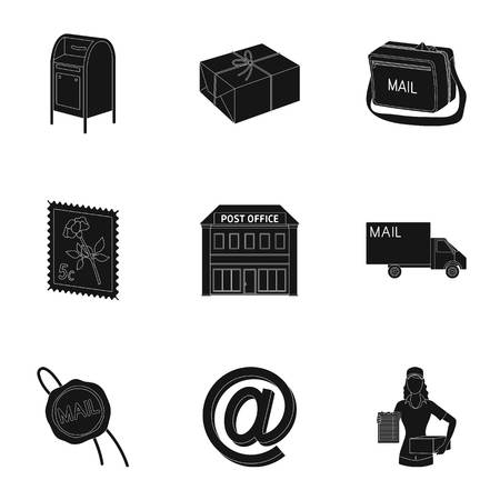sealing wax: Postman, envelope, mail box and other attributes of postal service.Mail and postman set collection icons in black style vector symbol stock illustration web.
