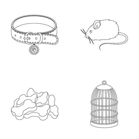 A collar, a forage, a toy, a cage and other products of the zoo store.Pet shop set collection icons in outline style vector symbol stock illustration web.