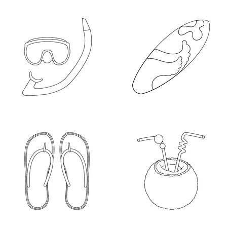 Diving, surfing, cocktail.Summer vacation set collection icons in outline style vector symbol stock illustration web. Illustration
