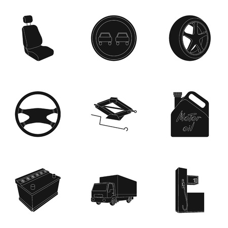 motor car candles: Wheel, wrench, jack and other equipment. Car set collection icons in black style vector symbol stock illustration web. Illustration