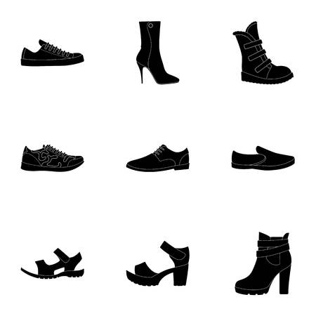 A set of icons on a variety of shoes.Different shoes single icon in black style vector symbol stock illustration.