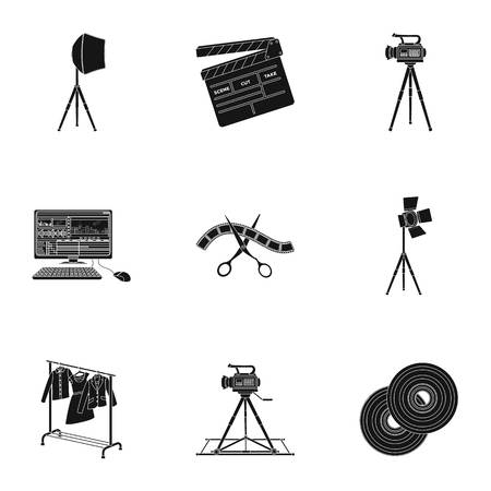hangers: A movie camera, a floodlight, a chromakey and other equipment for the cinema.Making movie set collection icons in black style vector symbol stock illustration web.