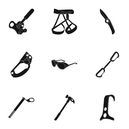 Ice ax, conquered top, mountains in the clouds and other equipment for mountaineering.Mountaineering set collection icons in black style vector symbol stock illustration web. Ilustrace