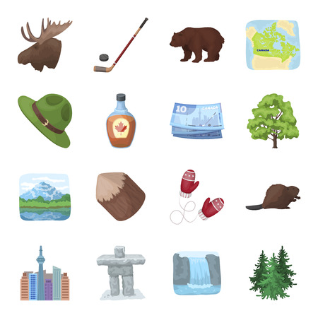 비버, 시럽, 단풍 나무, 하키, 호수, 자연 및 기타 기호. 캐나다 만화 스타일에서 컬렉션 아이콘을 설정 벡터 기호 재고 일러스트 웹.