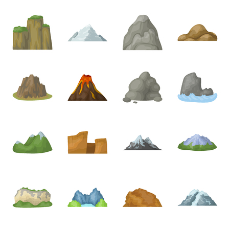 Rock, peak, volcano, and other kinds of mountains. Different mountains set collection icons in cartoon style vector symbol stock illustration web.
