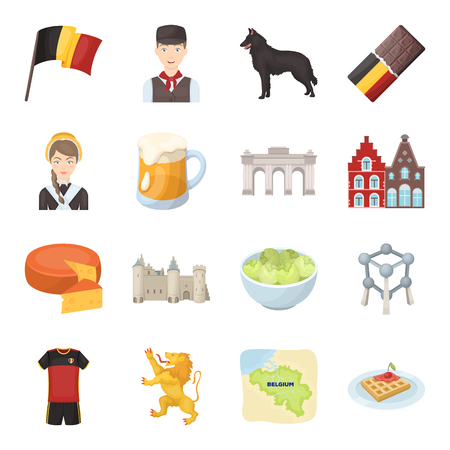Flaga, Bruksela, czekolada, ser, witraże, lew i inne symbole. Belgia ustawiać inkasowe ikony w kreskówka stylu symbolu zapasu ilustraci wektorowej sieci. Ilustracje wektorowe