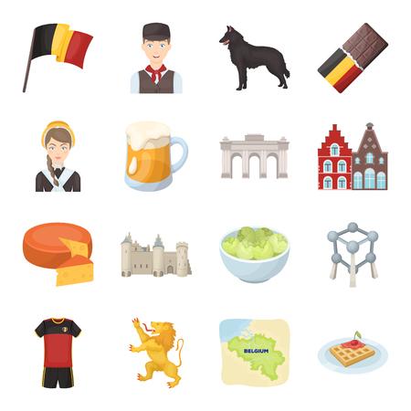 Vlag, Brussel, Chocolade, Kaas, Glas, Leeuw en andere symbolen. België set verzameling iconen in cartoon stijl vector symbool stock illustratie web. Vector Illustratie