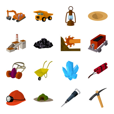 Excavator, jackhammer, helmet and other items for the mine. Mine set collection icons in cartoon style vector symbol stock illustration web.
