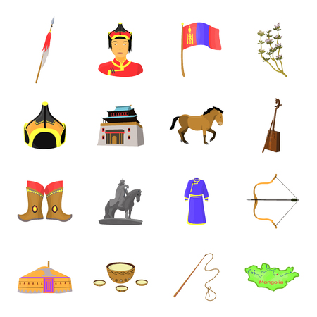 Genghis Khan, a monastery, Yurt and other sights of Mongolia. Mongolia set collection icons in cartoon style vector symbol stock illustration web. Illustration
