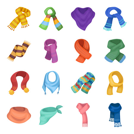 Wool, silk, polyester kinds of material for scarves and shawls.Scarves And Shawls set collection icons in cartoon style vector symbol stock illustration web. Illustration
