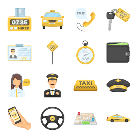 timekeeping: Parking, dispatcher, taxi driver are all for taxi service. Taxi set collection icons in cartoon style vector symbol stock illustration web.
