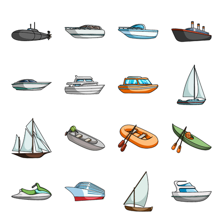 Yacht, boat, liner, types of ship and water transport. Ship and water transport set collection icons in cartoon style vector symbol stock illustration web.