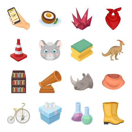 Hand, scrambled eggs, library and other web icon in cartoon style.Animal, sports, education icons in set collection.