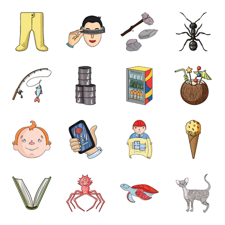 bacteria cartoon: cat, animal, building and other web icon in cartoon style.virus, monster, tortoise icons in set collection. Illustration