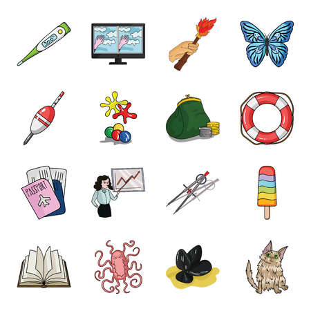 bacteria cartoon: education, fishing, antiquity and other web icon in cartoon style. cat, animal, malyusk icons in set collection. Illustration