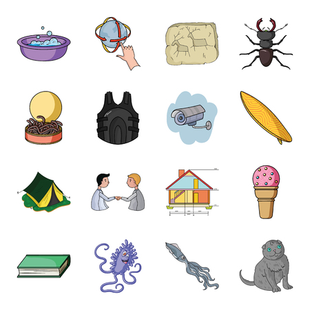 monsters house: security, camping, education and other web icon in cartoon style.octopus, cat, animal icons in set collection.
