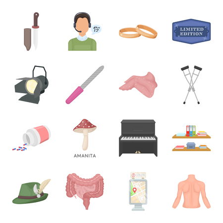 Hunting, education, art and other web icon in cartoon style.Health, weapon, beauty icons in set collection.