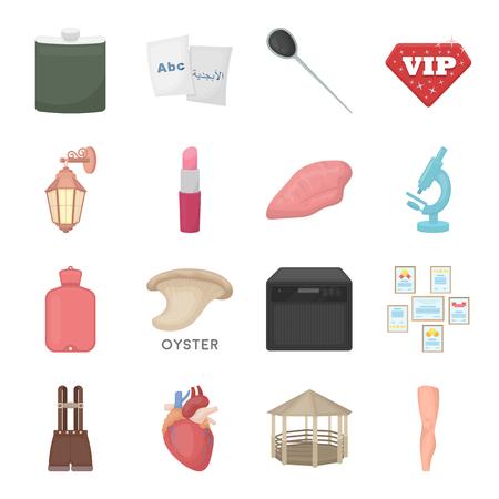 Entertainment, gezondheid, onderwijs en andere web-pictogram in cartoon stijl. Body, kunst, geneeskunde pictogrammen in instellen collectie. Stock Illustratie