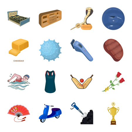 cottage cheese: Sport, transport, mine and other web icon in cartoon style.Furniture, holiday,space icons in set collection.