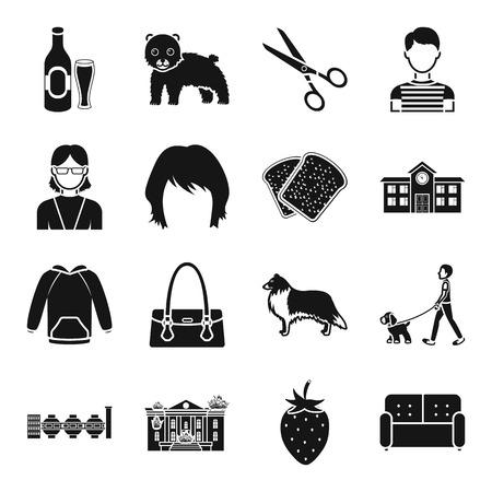Atelier, eten, architectuur en ander webpictogram in zwarte stijl. Kleding, accessoire, industrie iconen in set collectie. Stockfoto - 81494569