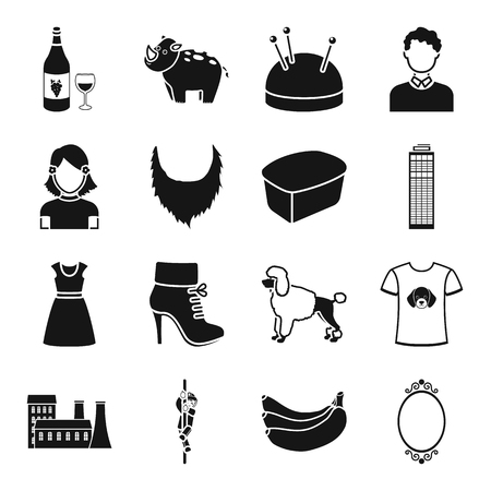 animal, atelier, skyscraper and other web icon in black style. architecture, clothing, domestic icons in set collection. Illustration
