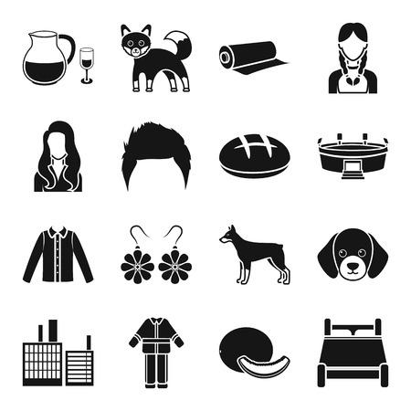 アルコール、動物、スタイル、ブラック スタイルの web アイコン。衣料品、建築、アトリエ、部のアイコン セットのコレクション。