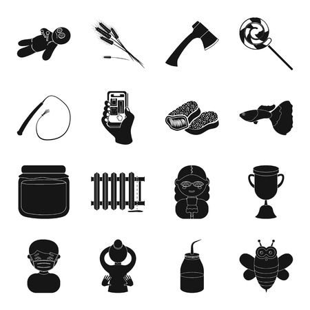 plumbing, magic, profession and other web icon in black style. tourism, apiary, food Ilustração