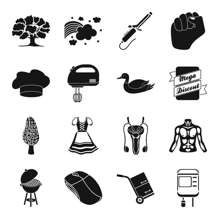 morel: Equipment, medicine, hairdresser and other web icon in black style. transportation, recreation, hunting icons in set collection. Illustration