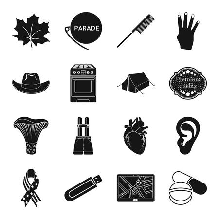 의학, 부엌, 장비 및 기타 웹 아이콘 검은 스타일. 미용사, 게이, 캐나다, 설정 컬렉션의 휴가 아이콘.