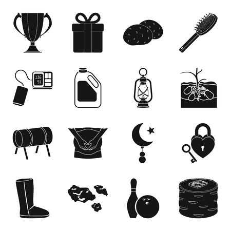 Food, medicine, entertainment and other web icon in black style.makeup, farm, mine icons in set collection.
